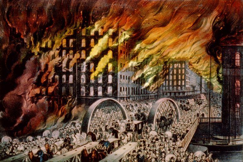 حدث هذا الحريق والذي أدى إلى تشريد 90 ألف شخص وجعلهم بدون مأوى وقضى على 300  نفس في شيكاغو كان بسبب أن احدهم أشعل سيجارة داخل حظيرة للحيوانات أدت إلى  هذا ...