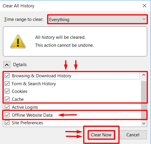 clear browsing data and cookies on firefox browser